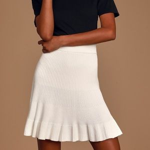Free People Solid Gold Ribbed Skirt Cotton Cream